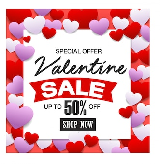 Valentines day sale, discont card.