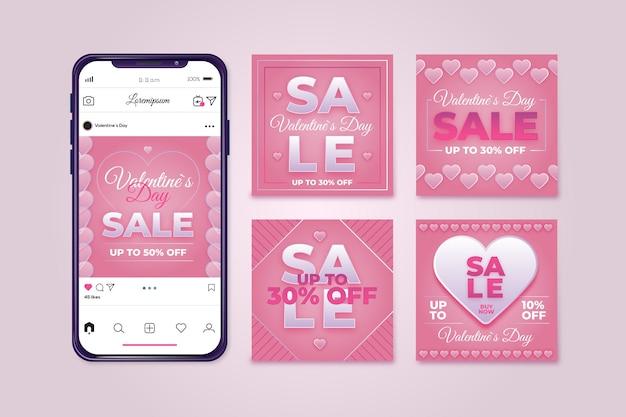Valentines day sale instagram post pack