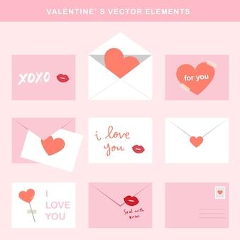 Valentines vector elements - zestaw listów