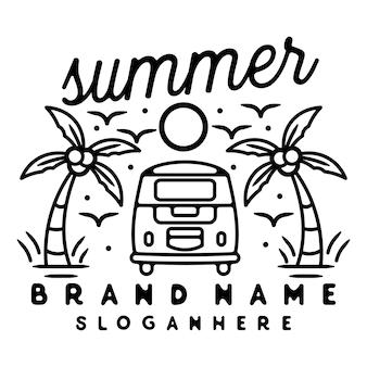 Van car monoline vintage outdoor badge design with palm tree