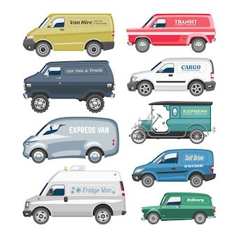 Van samochód dostawczy furgonetki doręczeniowego ładunku pojazdu samochodowego minibusa rodzinna ciężarówka i samochód dostawczy citycar na białej tło ilustraci