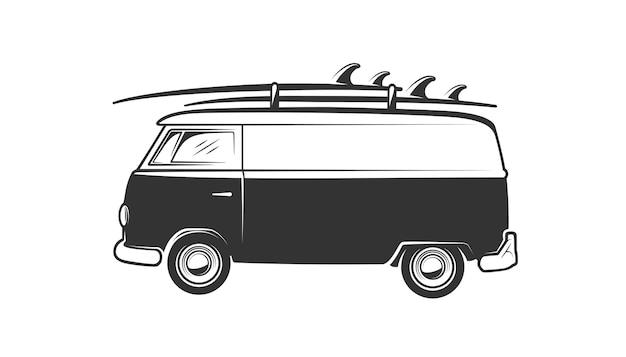 Van z deską surfingową na białym tle. elementy wystroju.