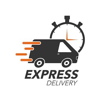 Van z ikoną stoper do serwisu, zamówienia, szybkiej, bezpłatnej i ogólnoświatowej wysyłki