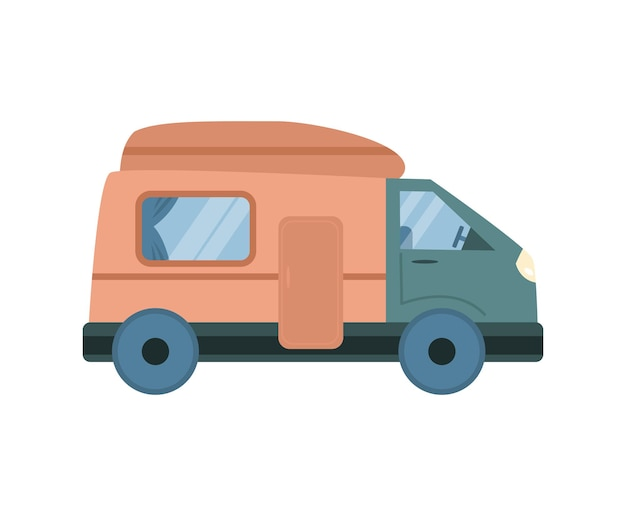 Van z przyczepą na lato camping kreskówka na białym tle