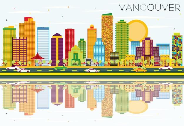 Vancouver skyline z kolorowymi budynkami, błękitnym niebem i odbiciami. ilustracja wektorowa. podróże służbowe i koncepcja turystyki z nowoczesną architekturą. obraz na baner prezentacyjny i witrynę internetową