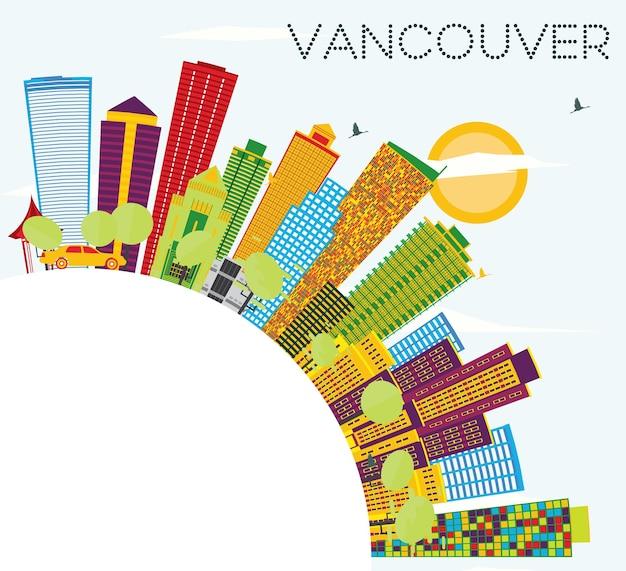 Vancouver skyline z kolorowymi budynkami, błękitnym niebem i przestrzenią do kopiowania. ilustracja wektorowa. podróże służbowe i koncepcja turystyki z nowoczesną architekturą. obraz na baner prezentacyjny i witrynę internetową
