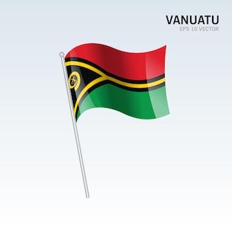 Vanuatu macha flagą odizolowaną na szaro