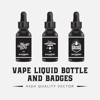 Vape E- Liquid Butelka Smak Ilustracja Szablon Premium Wektorów