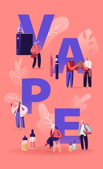Vape shop biznes i koncepcja uzależnienia od palenia. płaskie ilustracja kreskówka