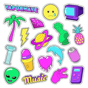 Vaporwave fashion funky elements z sercem, lodami i planetą na naklejki, odznaki. doodle wektor