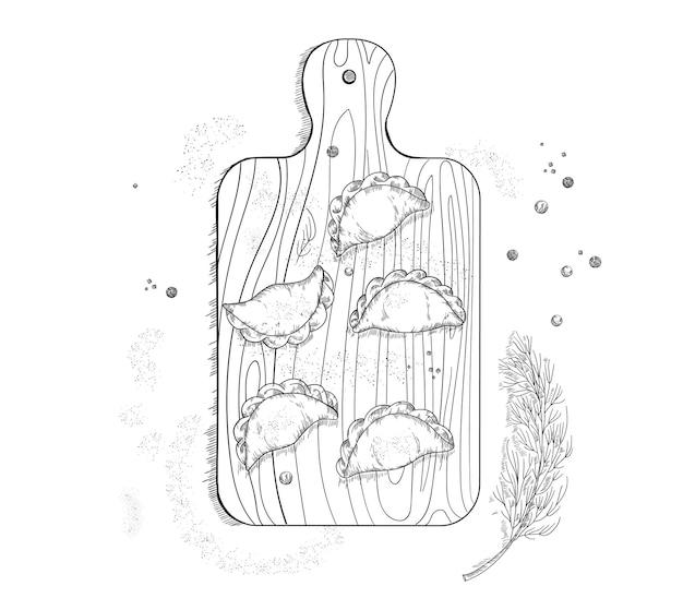 Vareniki na ilustracji drewnianej deski do krojenia. narodowa kuchnia rosyjska, ukraińska.