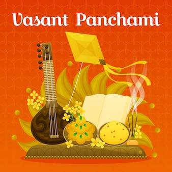 Vasant panchami ilustracja z veena