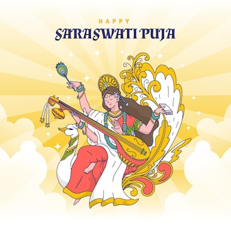 Vasant panchami szczęśliwy saraswati pudża