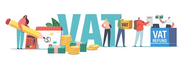 Vat, koncepcja usługi zwrotu podatku od wartości dodanej. postacie płci męskiej lub żeńskiej otrzymują zwrot pieniędzy za zakupy za granicą. ludzie oszczędzają budżet, pieniądze są wolne od podatku na lotnisku. ilustracja kreskówka wektor ludzi