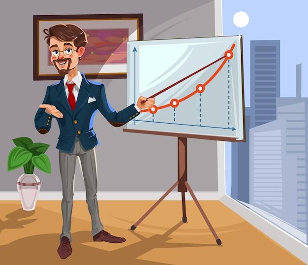 Vector 3d biznesmen w prezentacji