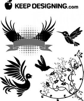Vector art | free clip art | wings ptak wektory projektowe