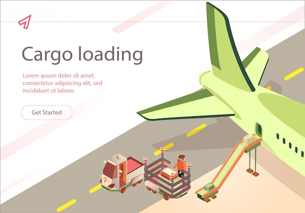 Vector banner cargo loading przygotowanie lotu.