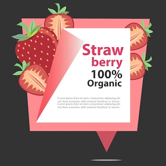 Vector banner strawberry 100% organic
