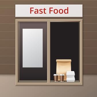 Vector cafe take away window z uchwytem torba na lunch karton hamburger klasyczne pojemniki na burgery i brązowe kartonowe kubki na kawę