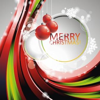 Vector christmas ilustracji z czerwonym kulki szklane na przestrzeni tekstu