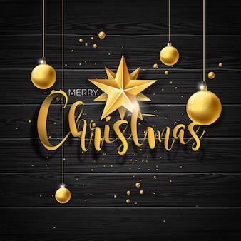 Vector christmas ilustracji z typografii i złote kulki szklane na tle zabytkowe drewna. ilustracji wektorowych wakacje.