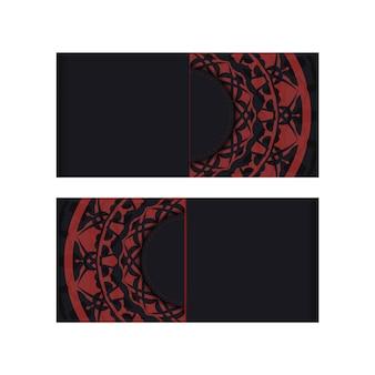 Vector czarne kolory pocztówka projekt z greckim ornamentem. projekt zaproszenia z miejscem na twój tekst i luksusowe wzory.