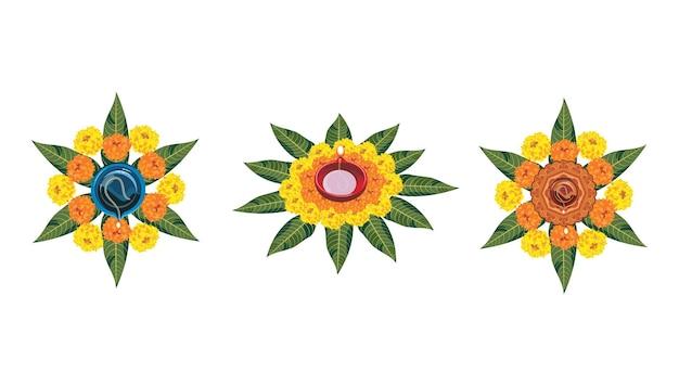 Vector flower rangoli na diwali lub pongal z lampą olejową z gliny