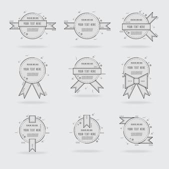 Vector geometryczne etykiety i wstążki zestaw elementów projektu.