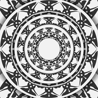 Vector gotowe do druku pocztówka projekt białe kolory z czarnymi wzorami mandali. szablon zaproszenia z miejscem na twój tekst i grecki ornament.