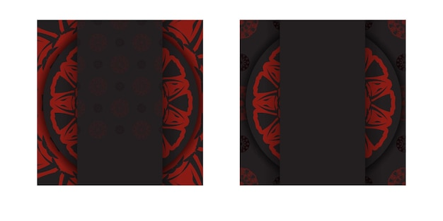 Vector gotowy do druku projekt pocztówki czarne kolory z greckimi wzorami. wektor szablon karty zaproszenie z miejscem na twój tekst i ornament.