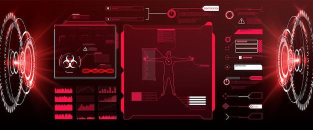 Vector hud gui futurystyczny wyświetlacz hitech