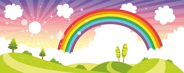 Vector ilustration kolorowy sceny przyrody