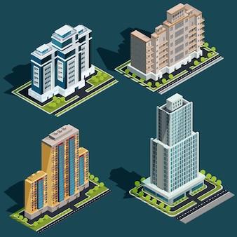 Vector isometric 3d ilustracje nowoczesnych budynków miejskich