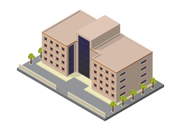 Vector izometryczny budynek hotelu, mieszkania, szkoły lub wieżowca