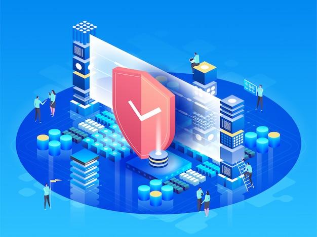 Vector izometryczny ilustracja nowoczesne technologie, bezpieczeństwo i ochrona danych, bezpieczeństwo płatności
