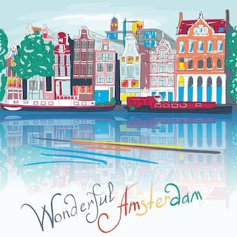 Vector kanał amsterdamski i typowe domy