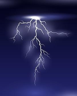 Vector lightning na nocnej ilustracji