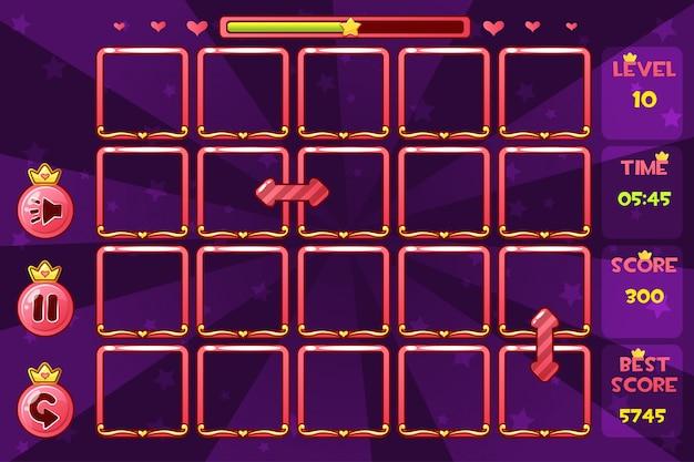 Vector princess dziewczęcy interfejs match3 gry i przyciski, zasoby gry