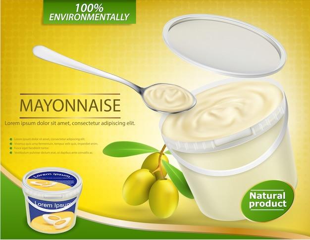 Vector realistyczny plakat z plastikowym wiadrem wypełnionym majonezem z oliwek i pobliskiej gałązek z oliwkami