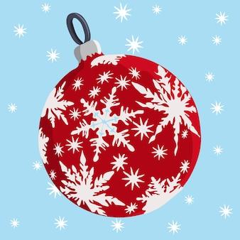 Vector red christmas ball z białymi gwiazdami na niebieskim tle