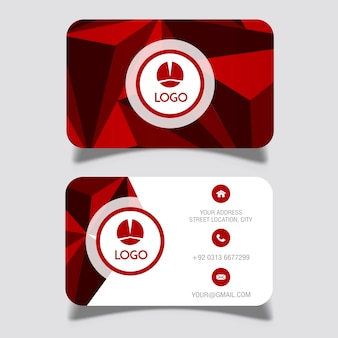 Vector red lowpoly business card designs