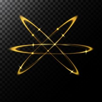 Vector streszczenie ilustracji lekkich efektów w kształcie złote koła