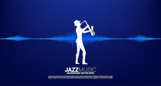 Vector sylwetka saksofonista z ikon? muzyki uwaga fala d?wi?kowa equalizer t?a. koncepcja tło dla tematu piosenki jazzowej i koncertu.