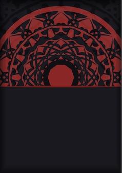 Vector szablon dla pocztówki projekt druku czarne kolory z greckimi wzorami. przygotowanie zaproszenia z miejscem na twój tekst i ozdobą luksusową.