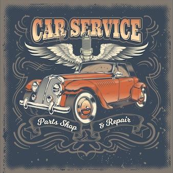 Vector vintage ilustracja, plakat z czerwonym samochodem retro