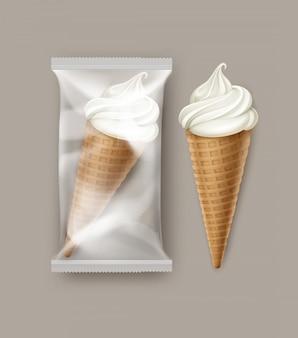 Vector white classic soft serve ice cream waffle stożek z przezroczystą folią z tworzywa sztucznego