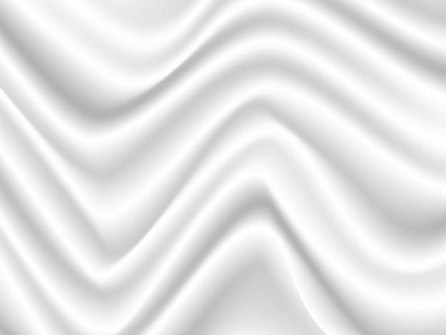 Vector white satin silky cloth fabric textile shap z pofałdowanymi fałdami