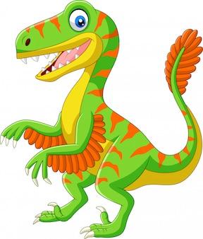 Velociraptor kreskówka zielony na białym tle