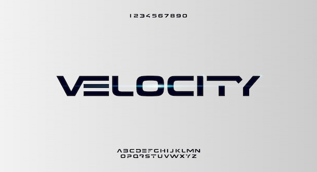 Velocity, abstrakcyjna futurystyczna czcionka alfabetu z motywem technologicznym. nowoczesny minimalistyczny projekt typografii