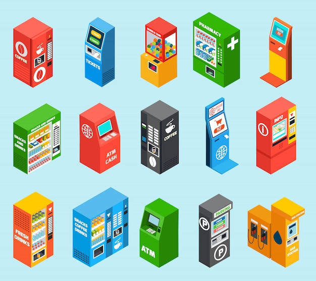Vending dispensing machines isometric collection